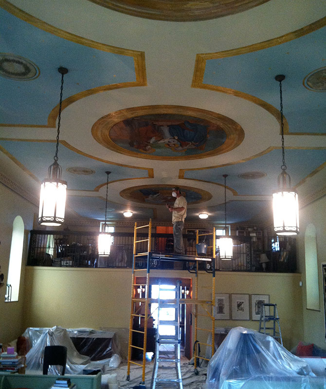During the ceiling painting