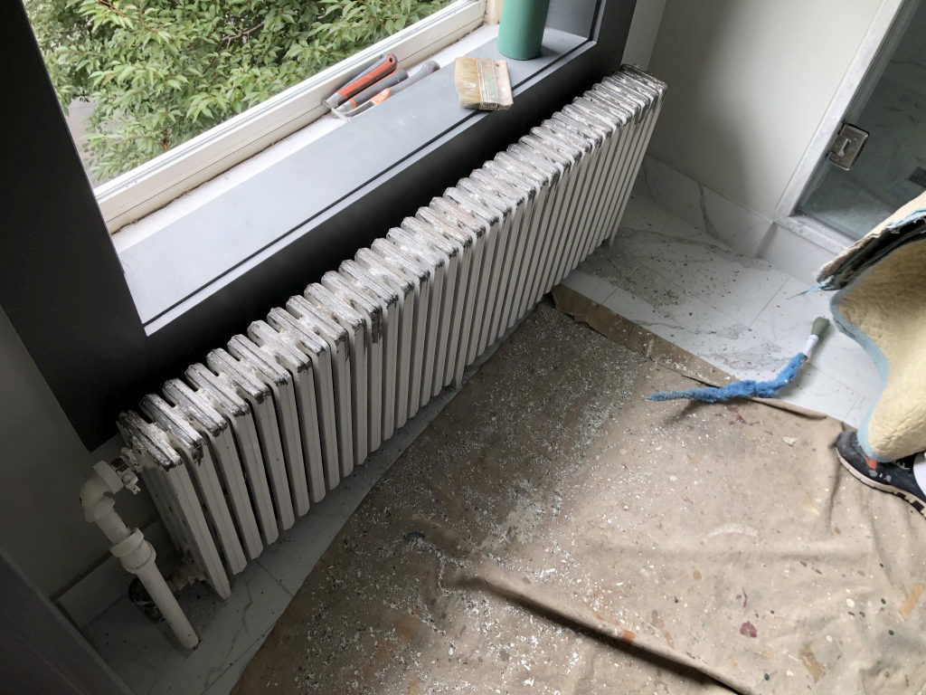 A radiator prior to restoration.